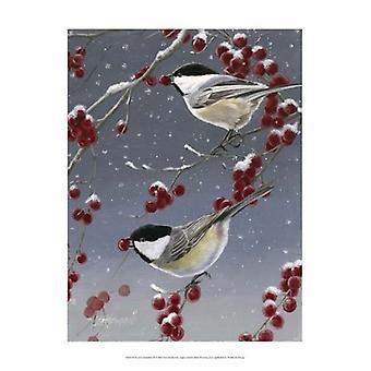 Winter Chickadees II Poster Print by Fred Szatkowski (13 x 19)