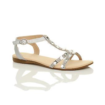 Ajvani kvinners flat lav kilehæl t-bøylen diamante edelstener ankelen stroppen sommer sandaler.