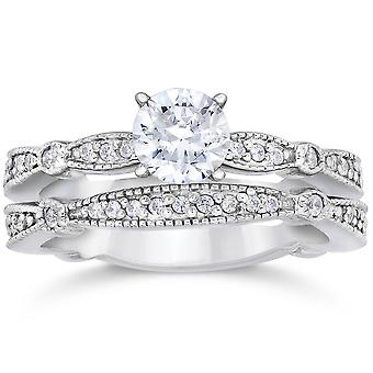 1ct ebnen Milgrained Diamond Engagement Trauring Set 14K White Gold