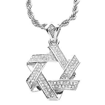 Iced Out Bling MINI Kette - Davidstern silber