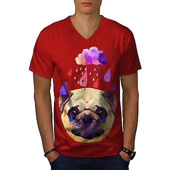 Pug Dog Rain Cool Funy Men RedV-Neck T-shirt | Wellcoda
