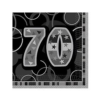Fødselsdag Glitz sort & sølv 70-års fødselsdag - frokost servietter