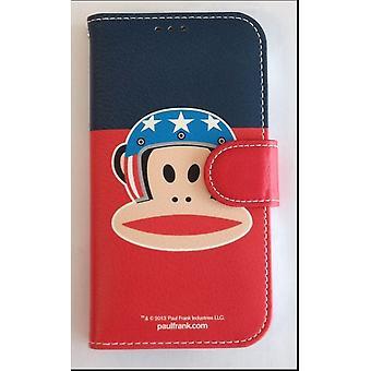 Ursprungliga Paul Frank ® dagbok påse täcka konstläder för Samsung Galaxy S4 / LTE med design hjälm blå