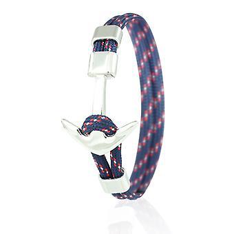 Skipper ankare armband 21 cm nylon arm smycken i blå/färgas med silver ankare 6965