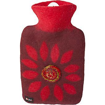 Hugo Frosch Hot Water Bottle Luxury In 100% Wool Cover Flower 1.8L