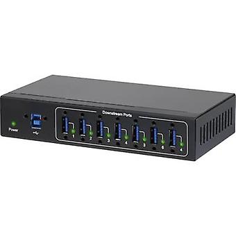 Renkforce 7 ports USB 3.0 hub meets industrial requirements, wall mount option Black