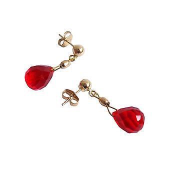 Gemshine - Damen - Ohrringe - Vergoldet - Jade - Tropfen - Rot - 1,5 cm