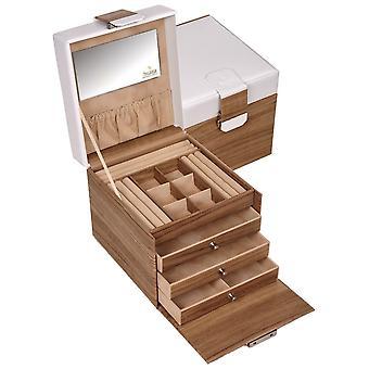 Sacher Schmuckkoffer Schmuckkasten NORDIC STYLE weiß und Holz-Optik abschließbar