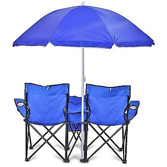 GoTeam Portable Double pliante chaise w/amovible parapluie, sac isotherme et mallette de transport