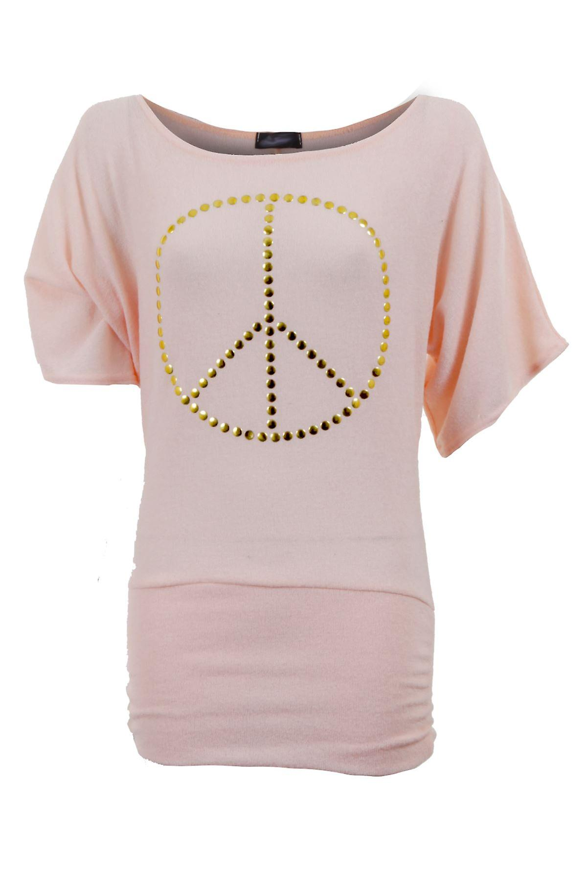 Ladies Half Sleeve Peace Bow Print Batwing Knitted Long T Shirt Womens Top