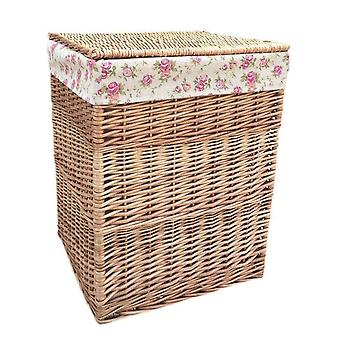 Small Light Steamed Square Laundry Baskets with Garden Rose Lining