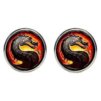Bassin and Brown Dragon Cufflinks - Black/Gold/Red