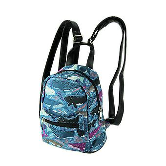 Sea of Whales Blue Polyester Mini Backpack