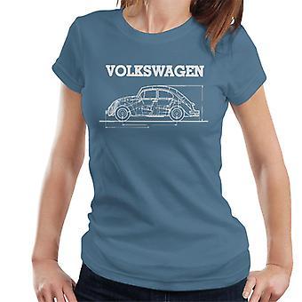 Official Volkswagen Beetle White Technical Diagram Women's T-Shirt