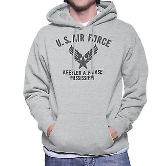 US Airforce Keesler AF Base Mississippi Black Text Men's Hooded Sweatshirt