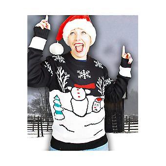 Trajes divertidos Navidad suéter con unisex de muñeco de nieve