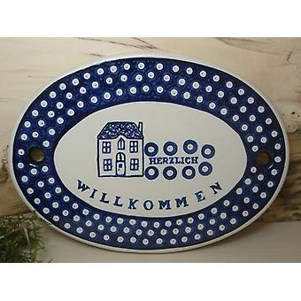 """Bunzlauer door sign """"warmly welcome"""" - tradition 5 - Edition only 99 pieces - BSN 10407"""