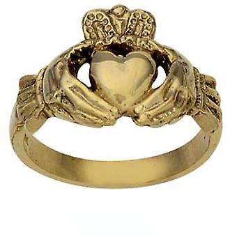 9ct Gold 14mm gents Claddagh Ring Size Z