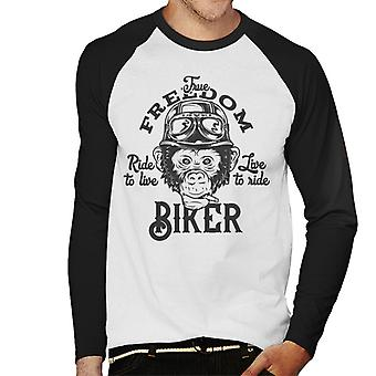 Vrijheid Biker Monkey mannen honkbal lange mouwen T-Shirt