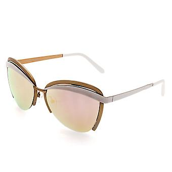 Bertha Aubree Polarized Sunglasses - White/Rose Gold