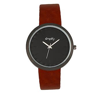 Simplify The 6000 Strap Watch - Black/Dark Brown