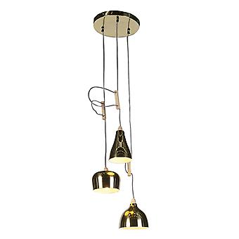 QAZQA Design pendurado lâmpada dourada / latão 3-luz ajustável - Vidya