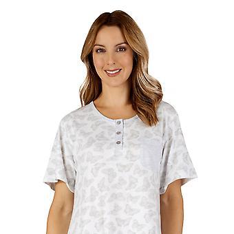 Slenderella ND3127 Women's Cotton Jersey Grey Butterfly Night Gown Loungewear Nightdress