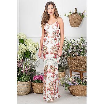 الأمل واللبلاب الأزهار الطباعة فستان ماكسي