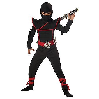 Stealth Ninja Assassin Japanese Warrior Black Red Book Week Boys Costume
