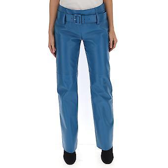Prada Light Blue Leather Pants