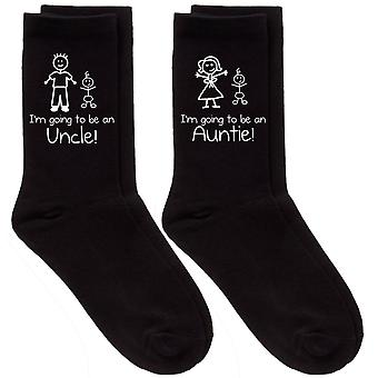 Couples I'm Going To Be An Auntie / Uncle Black Calf Sock Set