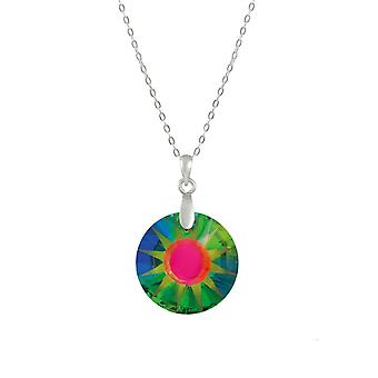Eternal Collection Solar Green Vitrail Austrian Crystal Sterling Silver Pendant