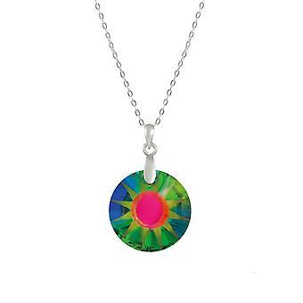 Eternal Collection Solar Green Vitrail Itävallan kristalli sterlinghopea riipus