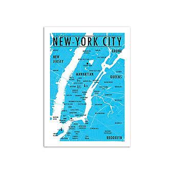 Kunst-poster-kaart New York City-Olivier Bourdereau 50 x 70 cm