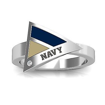 Us Naval Academy Gegraveerd Sterling Silver Diamond Geometrische Ring in blauw en Tan