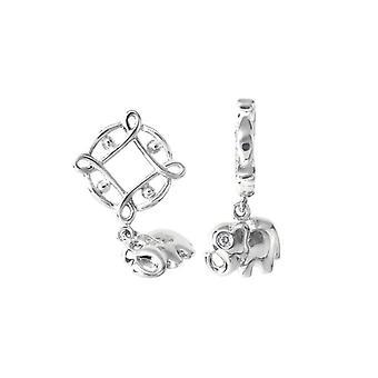 Storywheels Silver & Diamond Elephant Dangle Charm S122D