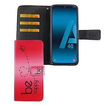Samsung Galaxy A40 Tasche Handy-Hülle Schutz-Cover Flip-Case mit Kartenfach Be Happy Pink