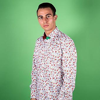 CLAUDIO LUGLI Tiny Rose Flower Print Shirt
