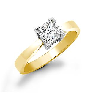 Jewelco London Ladies 18ct Yellow Gold L-Shape 4 Claw Set Princess G SI1 0.5ct Diamond Solitaire Engagement Ring 5mm