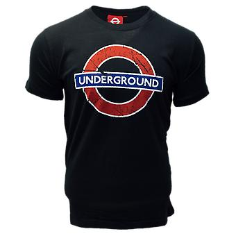 Licensed tfl101und unisex london undergound t shirt black