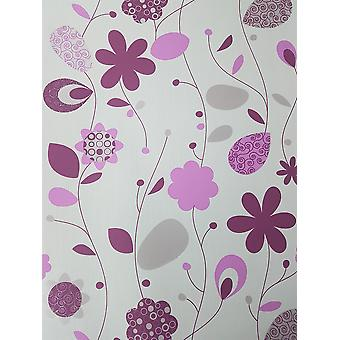 Pink Cream Floral Wallpaper Beige Leaf Metallic Textured Paste Wall Vinyl P+S