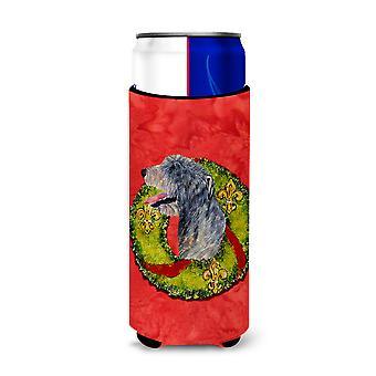 Irish Wolfhound Cristmas Wreath Ultra Beverage Insulats para latas delgadas SS4193MU