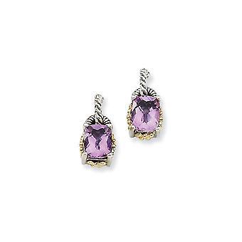 925 Sterling Silver Post Earrings finish With 14k 2.00Pink Amethyst Earrings Jewelry Gifts for Women