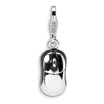 925 Sterling Silver Solid Polished Rhodium plated Fancy Lobster Closure 3 D Enameled Mouse With Lobster Clasp Charm Pend