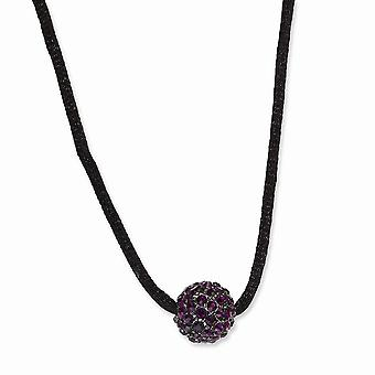 Black Plating Fancy Lobster Closure Preto banhado Purple Crystal Fireball 16 Inch com ext Satin Cord Necklace Joias Gi