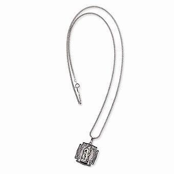 Solid Satin Gift Boxed Engravable Spring Ring afwerking Rhodium verguldSt. Florian Medaille Ketting 24 Inch Sieraden Geschenken voor