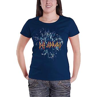 Def Leppard T Shirt band logo Official Womens New Blue Skinny Fit