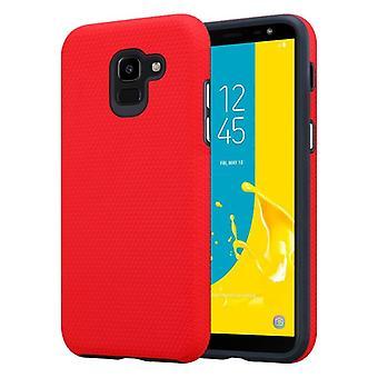 Cadorabo caso para Samsung Galaxy J6 2018 caso capa-outdoor telefone caso com extra grip anti deslizamento de superfície em triângulo design feito de silicone e plástico-estojo protetor caso híbrido Hardcase voltar