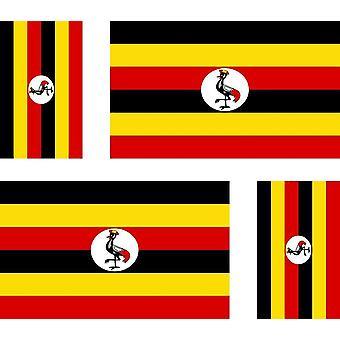 4 X Aufkleber Aufkleber Aufkleber Motorrad Auto Valise Pc tragbare Flagge Uganda