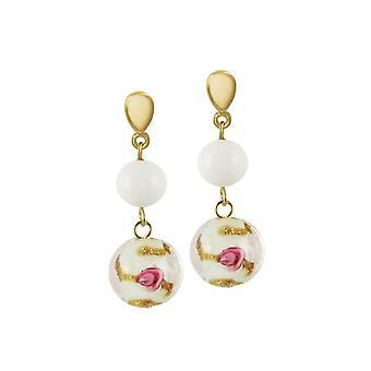 Éternelle Collection Fiori blanc verre vénitien couleur or Drop boucles d'oreilles